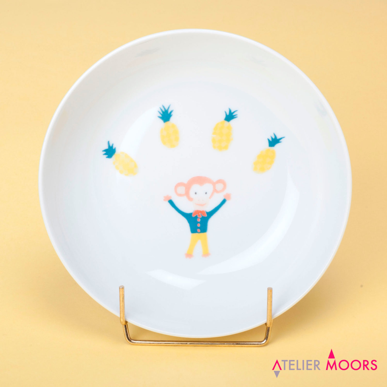 assiette porcelaine singe circus atelier moors