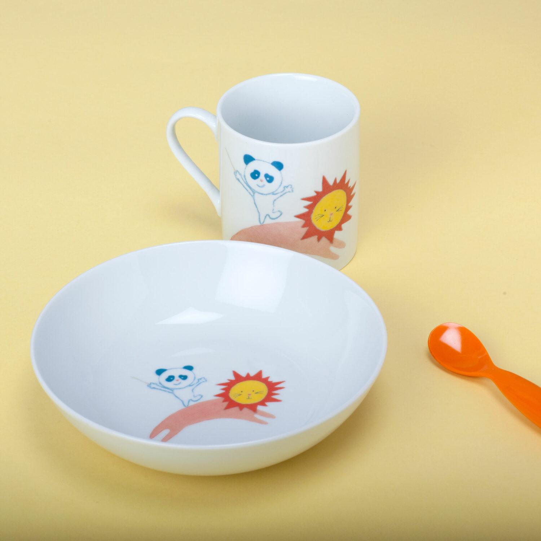 ensemble assiette tasse panda lion circus et cie porcelaine Atelier Moors