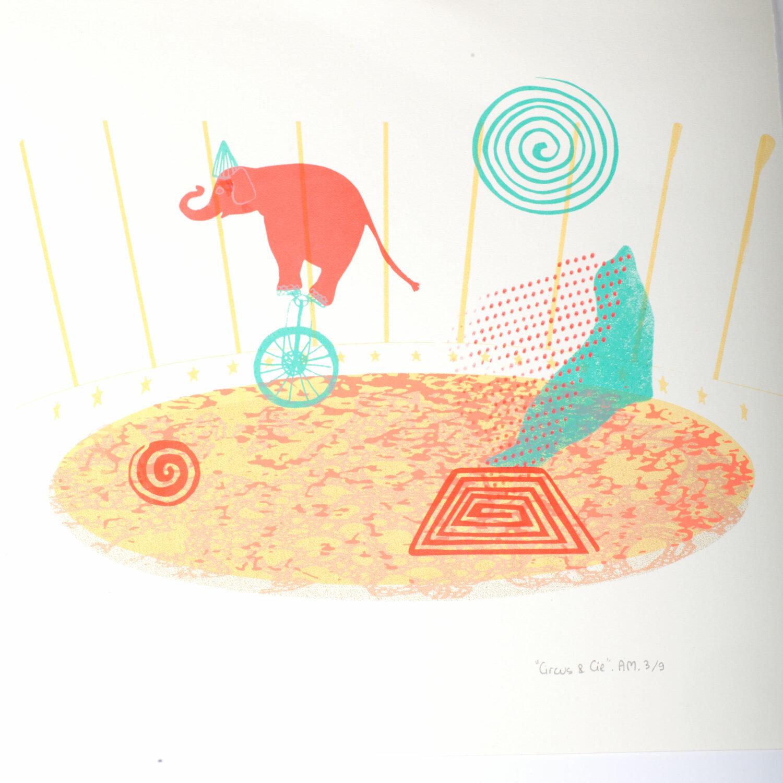 Circus & Cie 3 - Sérigraphie unique Atelier Moors