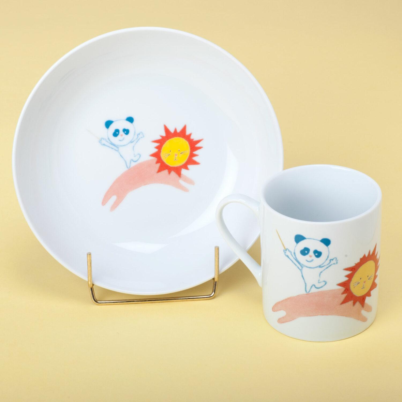 ensemble tasse assiette panda circus et cie porcelaine Atelier Moors