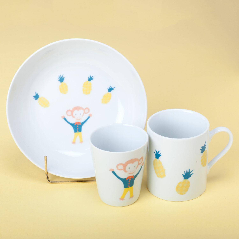 ensemble verre tasse assiette singe circus et cie porcelaine Atelier Moors
