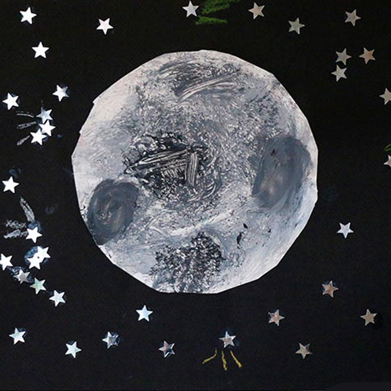 lune peinte papier alu